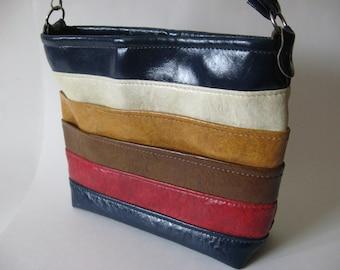 Best mod vintage vinyl purse EVER striped pockets shoulder bag silver hardware removable strap blue red gold brown cream