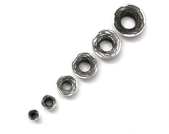 Step Tunnels - Sterling Silver Plugs - Stretched Lobes - Gauged Body Jewelry - Body Piercing Jewelry