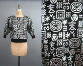 80s Crop Circles Silver and Black Shirt Small Medium