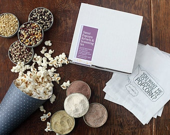 Dessert popcorn and seasoning gift set, sweet popcorn for movie night treat, Father's Day gift, tailgate spices food popcorn, DIY gift