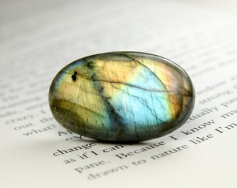 Glowing Oval Labradorite Cabochon, Ideal for Jewelry Designers and Artisans