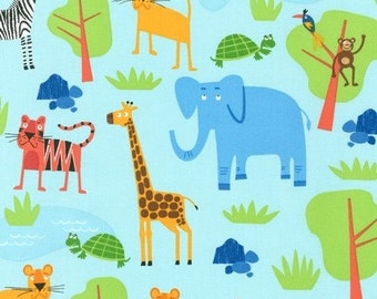 Jungle Friends in Bright (AED-15057-195) - JUNGLE PARTY by Edward Miller - Robert Kaufman Fabric - 1 yard