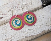 Blue Swirl Earrings with Pink and Green-Recycled Tin-Lightweight