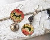 Tin Earrings-Salmon Red Flowered Earrings- Asymmetrical-Vintage  Candy Tin-Lightweight