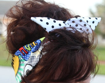 Cosplay Reversible Dolly Bow LARGE Wire Headband BLUE Comic Words over Polka Dots Rockabilly Pin Up Hair Accessory for Teens Women Girls