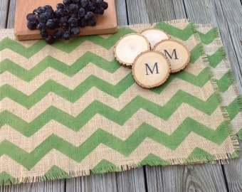 Burlap Chevron Placemats, True Green Rustic Chevron Placemats Set of Four Burlap Table Mats, Choice of Colors