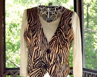 Suede Vest, Womens Clothing Tiger Stripe Vest, Black and Blonde Brown Vintage Leather Vest, Size Small US 6