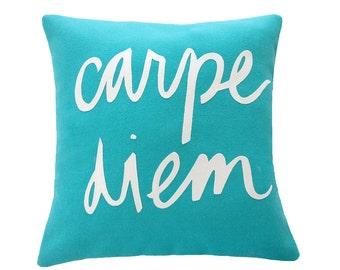 SALE Carpe Diem Teal and White Pillow