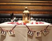 Mr. and Mrs. Wedding Signs | Wedding Garland and Banner | Burgundy and Black | Fall Wedding | Wedding Sign