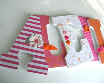 Custom Decorated Wooden Letters - Pink, Orange and White Nursery Décor - Baby Girl Bedroom