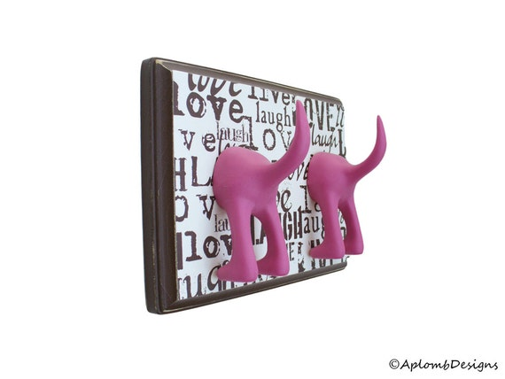 Dog Leash Hanger - Double Tail -  Live, Laugh, Love - Personalize with optional letter tiles