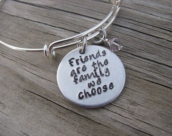 """Friendship Bracelet- """"Friends are the family we choose"""" with an accent bead of your choice- Gift for Friend"""