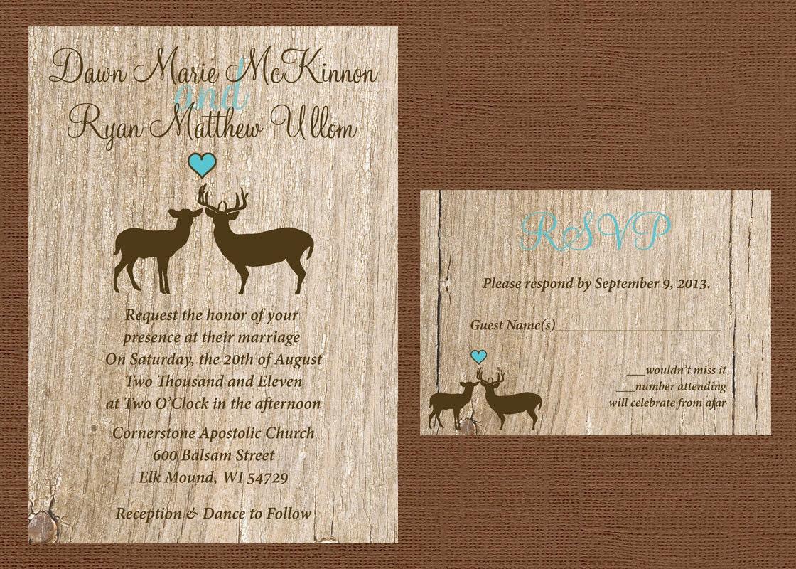 Deer Wedding Invitations: Rustic Wedding Invitation Deer Wedding Invitation Antler
