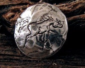 1 Rustic Artisan Horse Button Clasp in Sterling Silver - 14mm Round - BT21