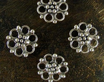 Sterling Silver Fancy Links - 4 Double Sided Jewelry Connectors or Chandelier Dangles - 8mm Round - Oakhill Silver Supply L23