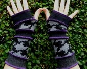 One of a kind arm warmers fingerless gloves - from recycled sweaters by SpiralGypsy