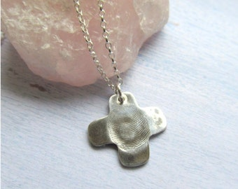 Fingerprint Necklace, Silver Fingerprint Jewelry, Baby Thumbprint Necklace