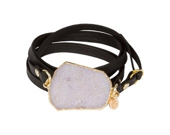 Black Leather and Gold Druzy Wrap Bracelet-druzy bracelet, leather bracelet, druzy jewelry