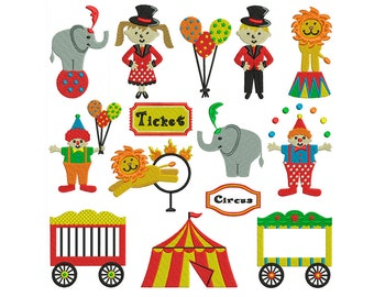 CIRCUS 1 - Machine Embroidery - Instant Digital Download