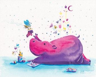 Childrens Prints - Hippopotamus - Distracted - 8x10 - Kids Room Decor Cute Wall Art