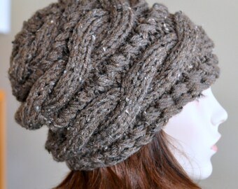 Slouchy Hat Slouch Beanie Cabled Hand Knit Braided Winter Adult Teen CHOOSE COLOR Barley Brown Chocolate Chunky Gift
