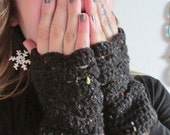 Black Lacy Crocheted Fingerless Mittens, Knucklewarmers, Fashion Accessories, Winter Wear, Cozy