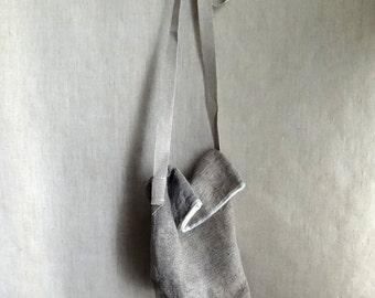 Tetrahedron Small Bag small checked  linen organic cotton