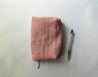 Pouch / Cover  ( red herringbone ) x Notebook