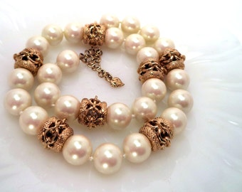 Carolee Faux Pearl Filigree Bead Necklace Signed