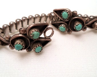 Vintage Sterling Silver Turquoise Watch Band Set and Stainless Steel Expansion Band