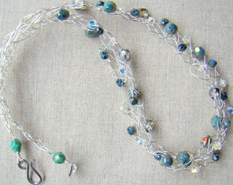 Turquoise Picasso Silver Beaded Crochet Wire Necklace // Crochet Wire Beaded Jewelry // Swarovski Crystals BohoChic Bohemian - CR0059