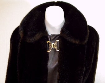 Luxurious 1970s Vintage Fake Fur & Leather Coat
