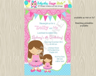 Dolly and Me/birthday/party/invitation/invite/dollie/american girl/tea party/printable/custom colors