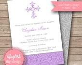 Printable Cross Baptism Invitation, Cross Baptism Invite, Baptism Invitation, Baptism Invite - Border Cross in Purple, Gray & White