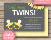 Twins Baby Shower Invitation, Twins Baby Shower Invite, Printable Twins Baby Shower Invitation - Twin Pacifiers in Gray, Yellow & Green