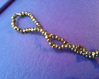 200 pieces Gold Beads Faceted Glass Beads 2.5mm Shiny Golden Beads Full Strand Electroplated Glass Beads