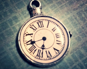 Clock Pendant Antiqued Silver Steampunk Pendant Roman Numerals Pocket Watch