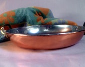 shallow COPPER-clad Stainless Pan, French pan with handles