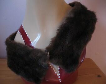 1940's Mink Fur Collar, Brown coat collar