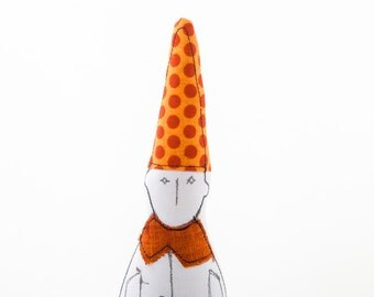 Christmas elf  doll, soft sculpture - black & white dwarf in rusty collar ,pointy orange hat with red Polka Dots  - eco handmade fabric doll