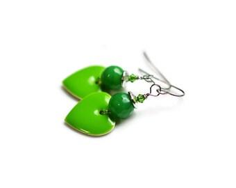 Green Agate Earrings, Gemstone Earrings, Heart Earrings, Surgical Steel Earrings, Green Earrings