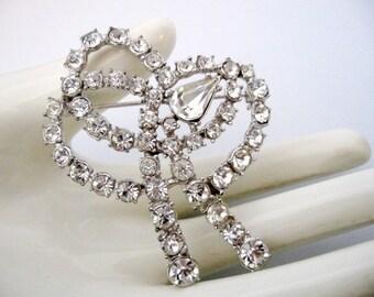 Vintage Clear Rhinestone Bow Brooch - Wedding Bridal Bridesmaid Brooch