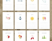 Printable 2017 Calendar PDF | Instant Download | DIY | Vector illustration