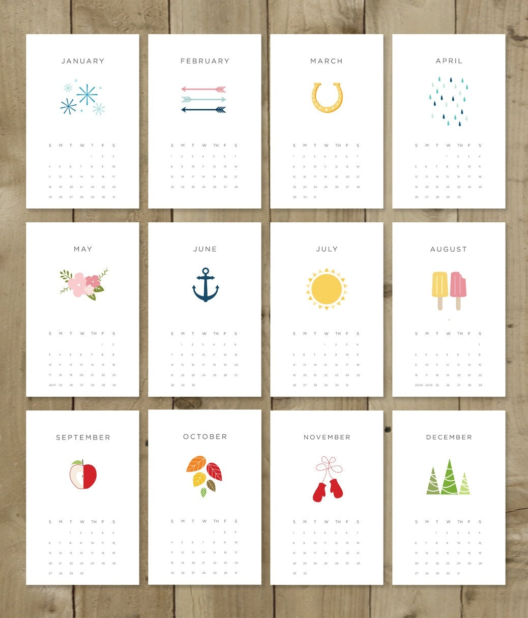 Diy Calendar With Pictures : Printable calendar pdf instant download diy vector