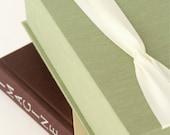 Fabric Keepsake Box. Memory Box. Shown in Sage Green and Ivory. Custom Order.