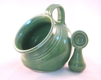 Salt Pig or Cellar with Spoon - Handmade Kitchen Pottery - Cooking and Serving - Glazed in Bright Green