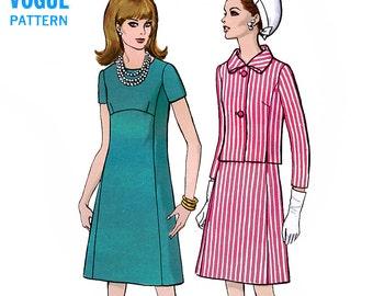 Vogue 7476 Vintage 60s Sewing Pattern for Misses' Dress and Jacket - Uncut - Size 12 - Bust 34