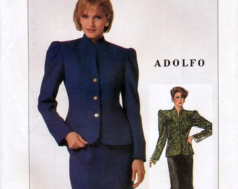Simplicity 7027 by Adolfo Vintage 80s Misses' Skirt and Lined Jacket Sewing Pattern - Uncut - Size 14 - Bust 36