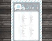Boy Baby Shower Animal Match Game Printable  - Instant Download - Boy Elephant Match Baby Animals Game Printable