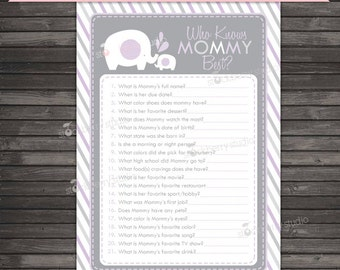 Purple Elephant Baby Shower Who Knows Mommy Best Game Printable - Lavender Baby Shower Games - Instant Download - Gray Girl Baby Shower